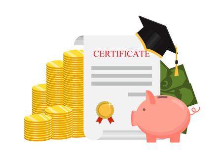 Investment in education concept. Graduate's cap and golden coin. Vector illustration Ilustración de vector