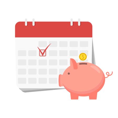 Financial calendar and planning concept. Vector illustration design