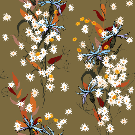 Botanical motifs. Isolated seamless flower pattern. Vintage background. Wallpaper. Hand drawn. Vector illustration. Vector Illustration
