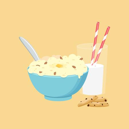 Gruau, flocons d'avoine au lait. Petit-déjeuner sain. Illustration vectorielle