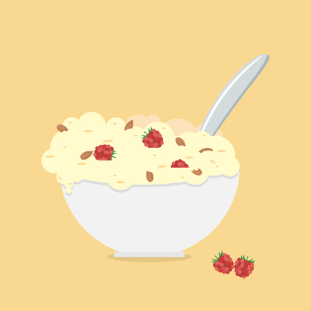 Oatmeals, oat flakes with milk.  Healthy breakfast. Vector illustration