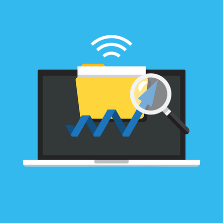 Web analytics concept. Information and development website statistic icon. Vector illustration