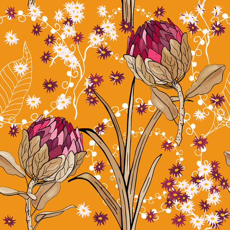 Botanical motifs. Isolated seamless flower pattern. Vintage background. Wallpaper.  Hand drawn. Vector illustration. Ilustrace