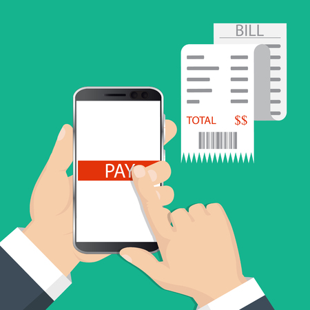 Mobile payment concept. Hand holding a phone. Smartphone wireless money transfer. Flat design. Vector illustration