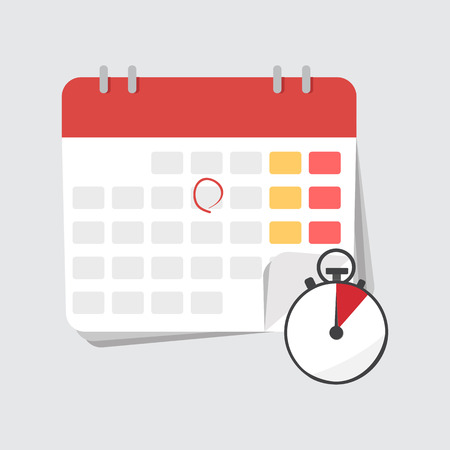 Date and time icon. Stopwatch and calendar. Vector