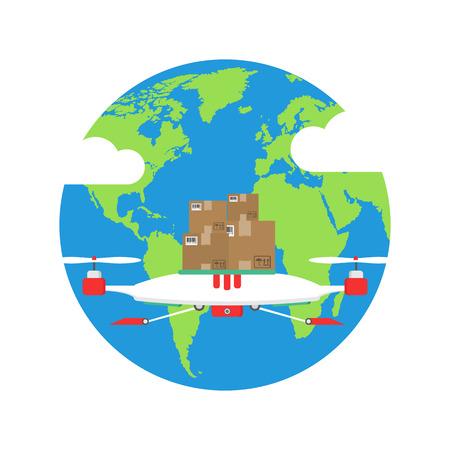 Global shipping program concept. International delivery services. Vector illustration