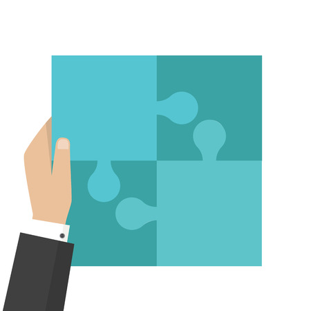 Corporate culture business concept. Puzzle, teamwork and unity and partnership. Vector illustration Ilustrace