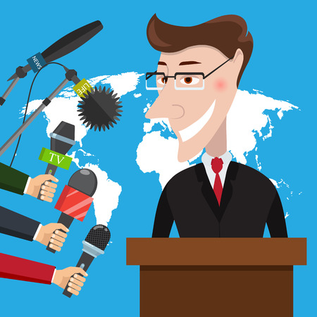 Businessman gives a reporter interview. Press conference. Live report, live news concept. Vector illustration Ilustrace