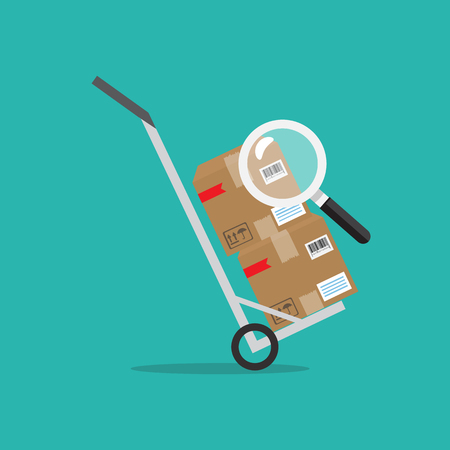 Parcel or order tracking concept. Parcel packaging box with bar-code icon. Vector illustration