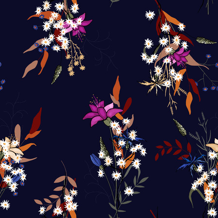 Blooming  Flowers. Realistic isolated seamless flower pattern. Vintage background. Wallpaper.  Hand drawn. Vector illustration.
