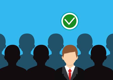 Human resource concept. Right person icon. Vector illustration