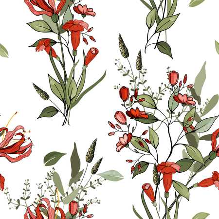 Trendy floral pattern. Isolated seamless pattern. Vintage background. Wallpaper.  Hand drawn. Vector illustration.