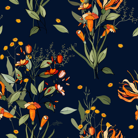 Blooming  Flowers. Realistic isolated seamless flower pattern. Vintage background. Wallpaper.  Hand drawn. Vector illustration