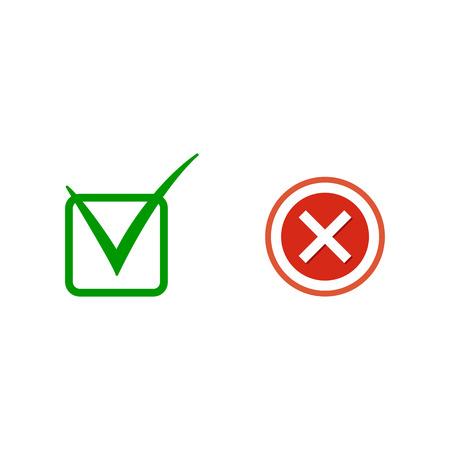 Green check mark icon. Vector illustration.