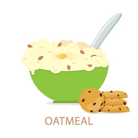 Oatmeals, oat flakes with milk.  Healthy breakfast. Vector illustration