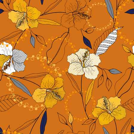 Blossom floral seamless pattern. Vintage background. Wallpaper. Blooming realistic isolated flowers. Hand drawn. Vector illustration.