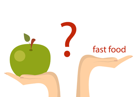Fast food or vegetables proper nutrition. Concept of healthy eating. Vector