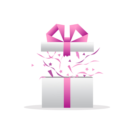 Delight present. Surprise concept. Gift box, birthday package. Vector illustration