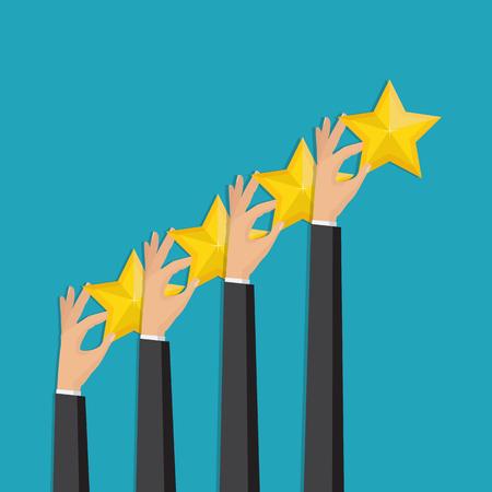 Customer feedback concept. Hand pointing rating golden stars. Feedback, icon. Vector Illustration