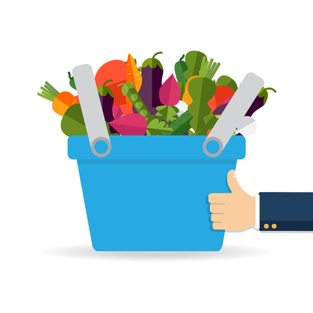 Shopping basket with fresh vegetables. Concept of healthy lifestyle, vegan, vegetarian. Fresh organic food. Vector Ilustrace