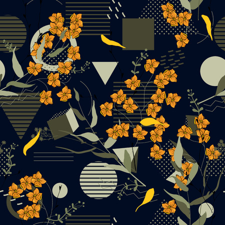 Trendy Seamless flower pattern. Vintage background. Wallpaper. Blooming realistic isolated flowers. Hand drawn. Vector illustration.