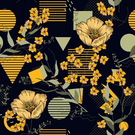 Patrón transparente de lunares de moda con flores dibujadas a mano bohemio. Estampado floreciente de memphis floral salvaje. Ilustración vectorial Ilustración de vector