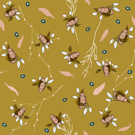 Blossom floral seamless pattern. Vintage background. Wallpaper. Blooming realistic isolated flowers. Hand drawn. Vector illustration. Stockfoto - 127291715