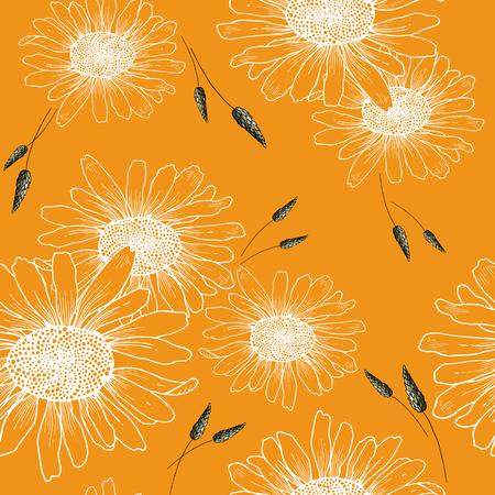 Botanical motifs. Isolated seamless flower pattern. Vintage background. Wallpaper.  Hand drawn. Vector illustration.  イラスト・ベクター素材
