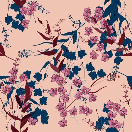 Abstrakte Blumenzeichnung. Realistisches isoliertes nahtloses Blumenmuster. Vintage Set. Hintergrund. Handgemalt. Vektorillustration.