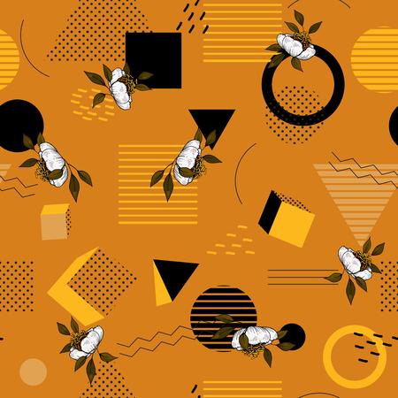 Modern animal skin prints. Flower hand drawn seamless pattern. Safari Africa design of leopard and tiger, snake and zebra. Vector  イラスト・ベクター素材