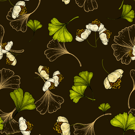 Bohemian flowers pattern, floral hand drawn mix of ginkgo biloba. Seamless vector illustration for fashion, fabric. Scarf prints