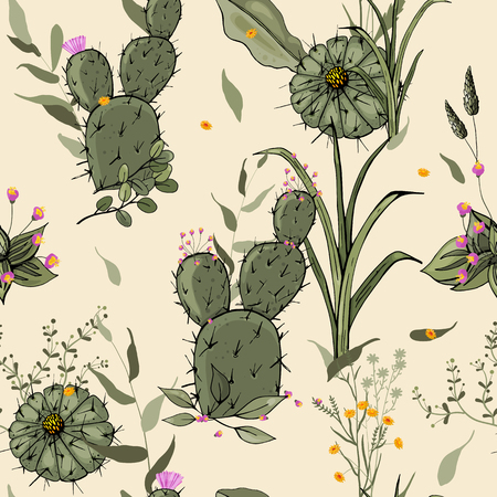 Abstract flower drawing. Realistic isolated seamless flower pattern. Vintage set. Wallpaper. Hand drawn. Vector illustration  イラスト・ベクター素材