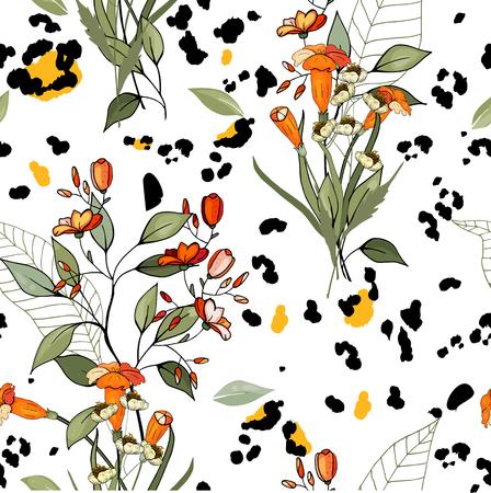Modern animal skin prints. Flower hand drawn seamless pattern. Safari Africa design of leopard and tiger, snake and zebra. Vector
