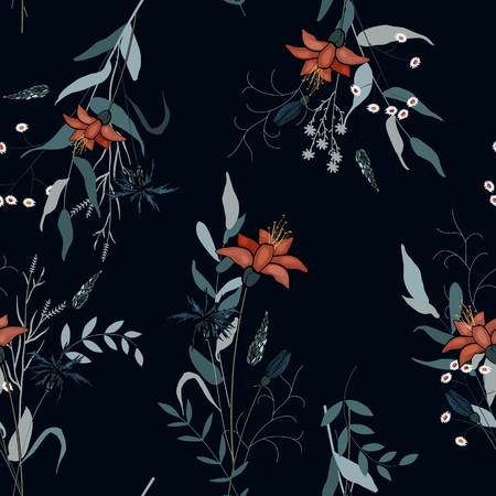 Blooming Flowers. Realistic isolated seamless flower pattern. Vintage background. Wallpaper. Hand drawn. Vector illustration. Vector Illustration