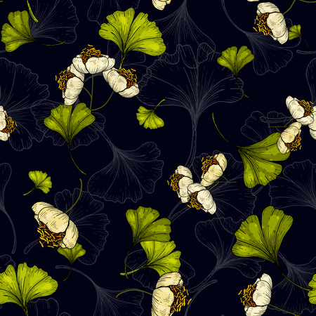 Flower pattern hand drawn style with set of seamless floral ornament of ginkgo biloba for fashion design, fabric print, wallpaper, background, web, textile in vector  イラスト・ベクター素材