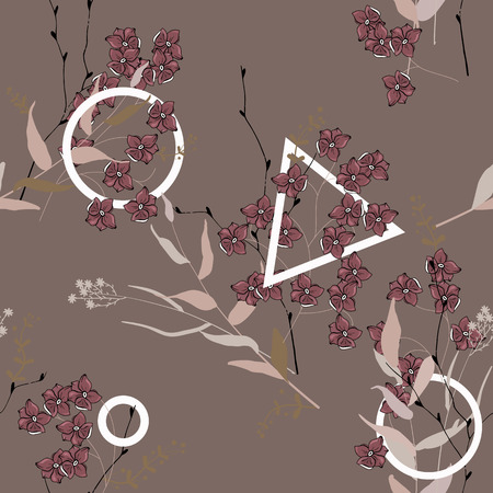 Vintage background. Wallpaper. Blooming realistic isolated flowers. Hand drawn. Vector illustration.Blossom floral seamless pattern.  イラスト・ベクター素材