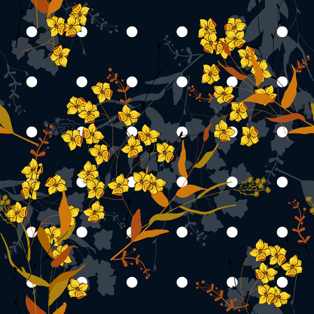 Trendy polka dots seamless pattern with bohemian hand drawn flowers. Blooming wild floral memphis print. Vector illustration  イラスト・ベクター素材