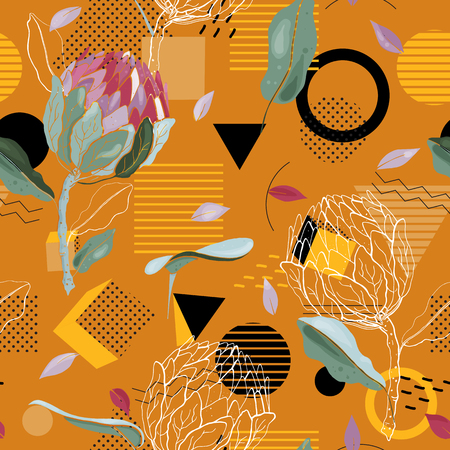 Modern memphis pattern with hand drawn wild flowers. Geometric seamless print with polka dots design for fashion, cards, fabric and prints. Vector illustration