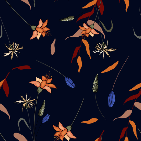 Vintage background. Wallpaper.  Hand drawn. Vector illustration. Blooming  Flowers. Realistic isolated seamless flower pattern.