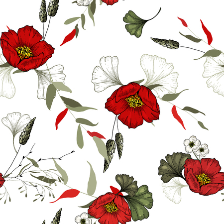 Trendy floral pattern. Isolated seamless pattern. Vintage background. Wallpaper.