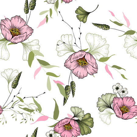 Trendy floral pattern with pink wild flowers. Seamless print of drawn by hand elements. Vintage flowering background. Hand-sketched wallpaper. Vector illustration.  イラスト・ベクター素材