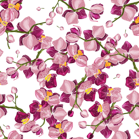 Japanese Garden seamless pattern spring Asia Flowers. Wallpaper. Hand-drawn floral vector illustration for fashion, fabric.  Handsketched hothouse flower surface and textile print.