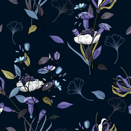 Abstract Flower drawing. Realistic orchid isolated seamless flower pattern. Vintage set. Wallpaper. Hand drawn. Vector illustration.