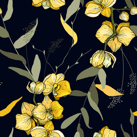 Bohemian flowers pattern orchid, floral hand drawn mix. Seamless vector illustration for fashion, fabric. Scarf prints