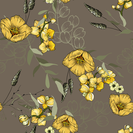 Bohemian flowers pattern, floral hand drawn mix with orchids, roses. Seamless vector illustration for fashion, fabric. Scarf prints  イラスト・ベクター素材