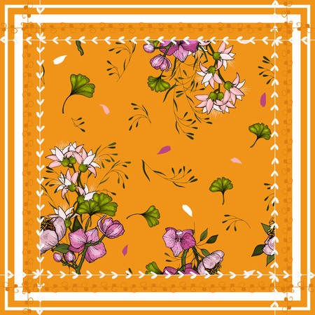 Scarf pattern seamless flower pattern. Wallpaper Blooming realistic isolated flowers hand drawn. Vintage background. Vector illustration.  イラスト・ベクター素材