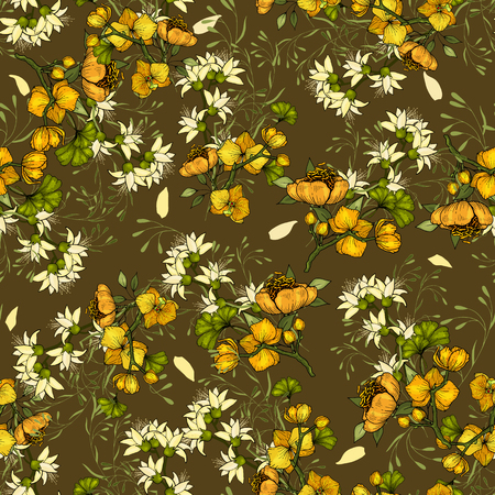 Paradise flowers. Realistic drawn by hand bright seamless pattern with flower Orchid. Vintage handsketched background. Wallpaper. Vector illustration.