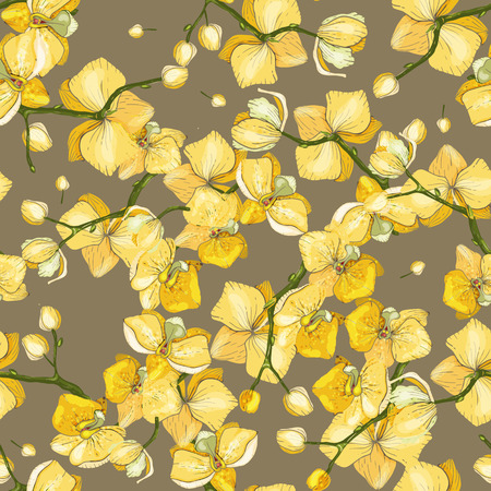 Blossom Floral seamless pattern. Vintage background. Wallpaper with orchid. Blooming realistic isolated flowers. Hand drawn. Vector illustration.