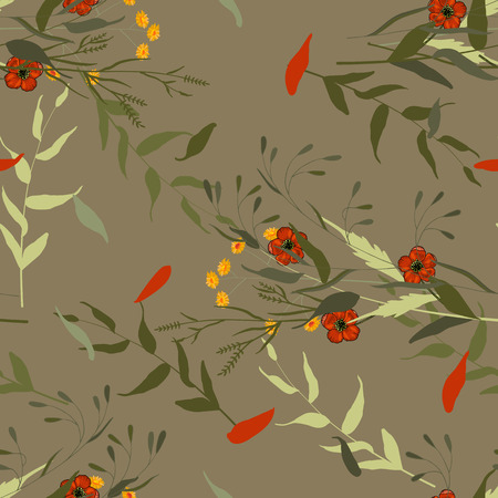 Paradise flowers. Realistic isolated seamless flower pattern. Vintage background. Wallpaper.