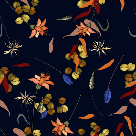 Folk flowers. Seamless floral pattern with wild flowers and tropic leaves. Modern botanical background. Wallpaper. Hand drawn. Vector illustration